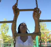 Elida Mejia at playground